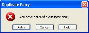 Customised error message for duplicate entries