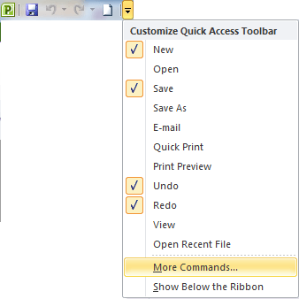 Customise the Quick Access Toolbar