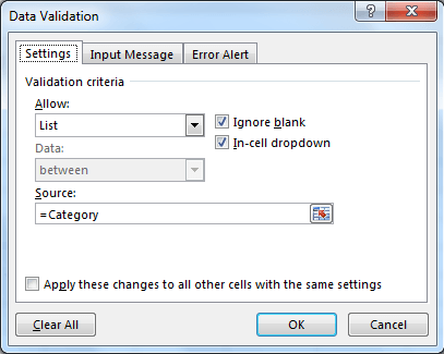 Creating the categories drop down list