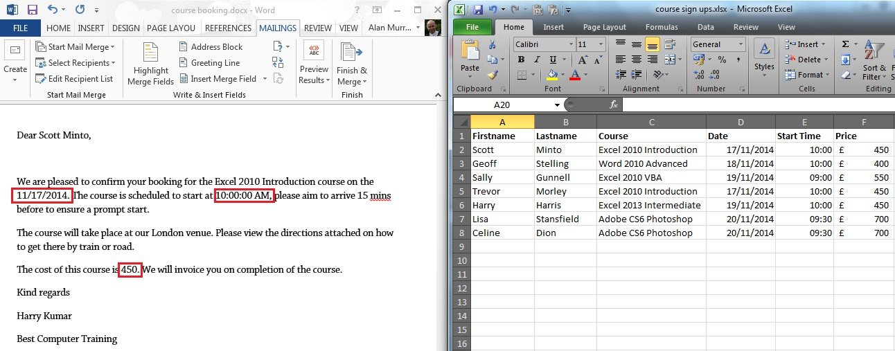 Mail merge from Excel formatting problems