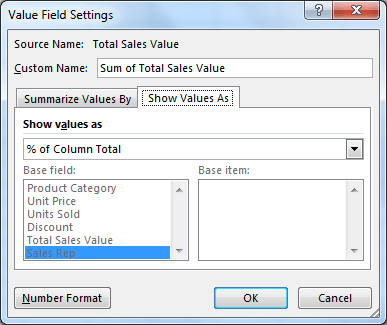 Editing the value field settings