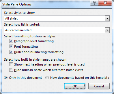Showing all styles by editing the style pane options
