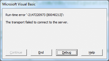 The transport failed to connect to the server error
