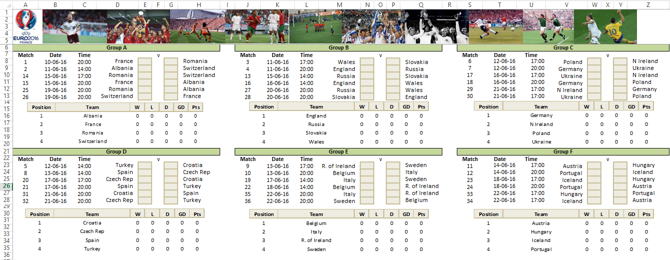 Euro 2016 Planner Template