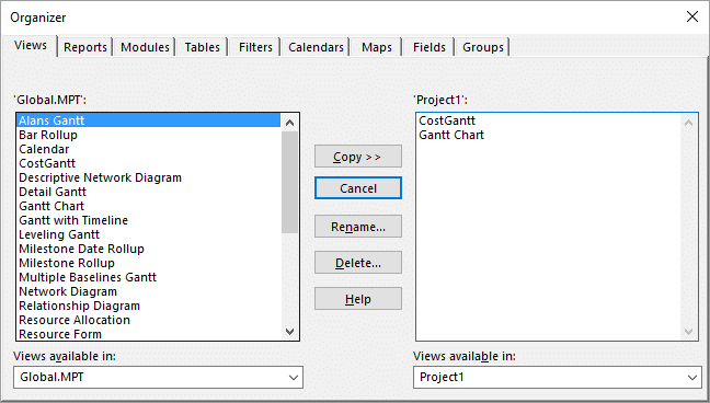 Transferring views between project files with the Organizer