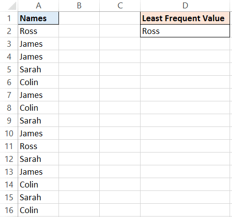 Excel formula for least frequent value