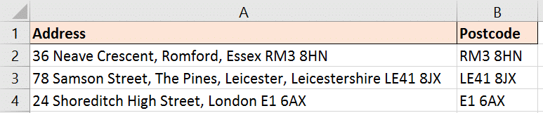 Extract postcode from UK address with Excel formula