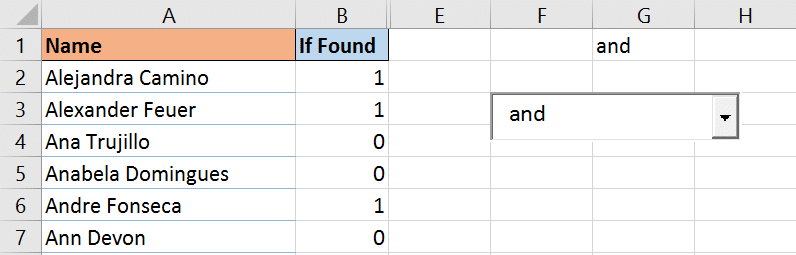 Excel formula to identify if the name is found