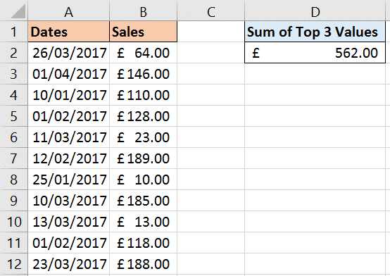 Sum top 3 values in a range