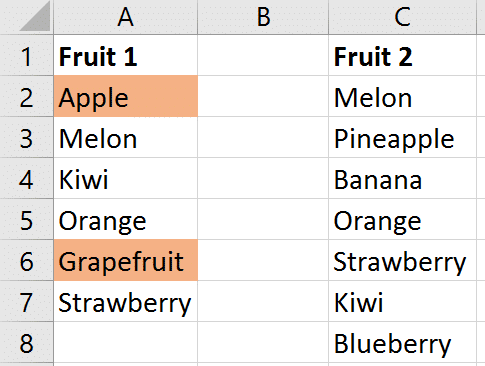 Compare two lists with VLOOKUP function