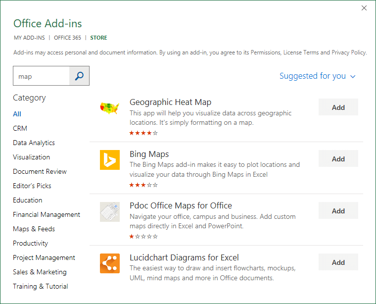 Searching the store for an Excel Add-in