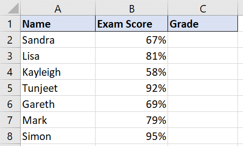 Using Select Case to evaluate exam scores