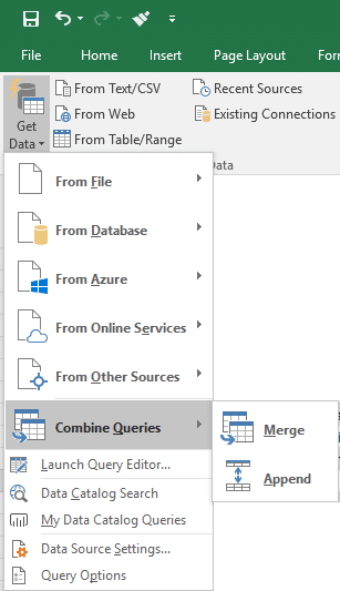 Starting the Append Query to combine multiple worksheets data
