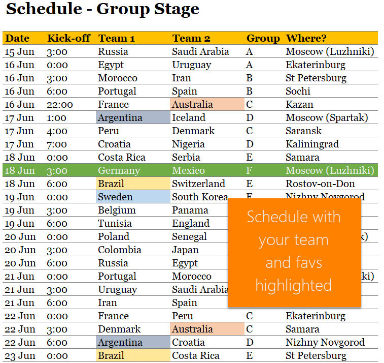 World Cup Excel tracker