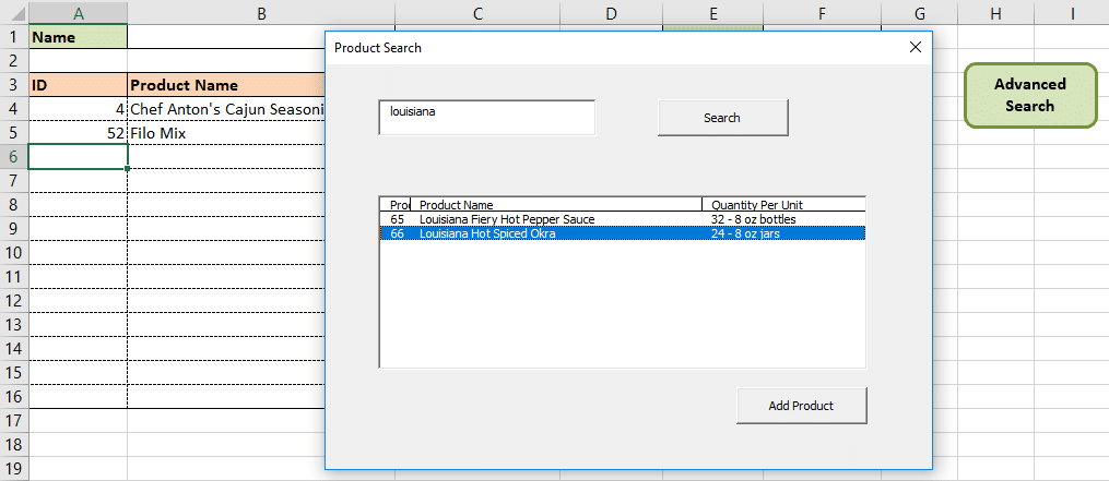 ListBox displaying search results from a text box