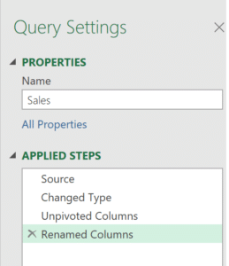 The applied steps of Power Query