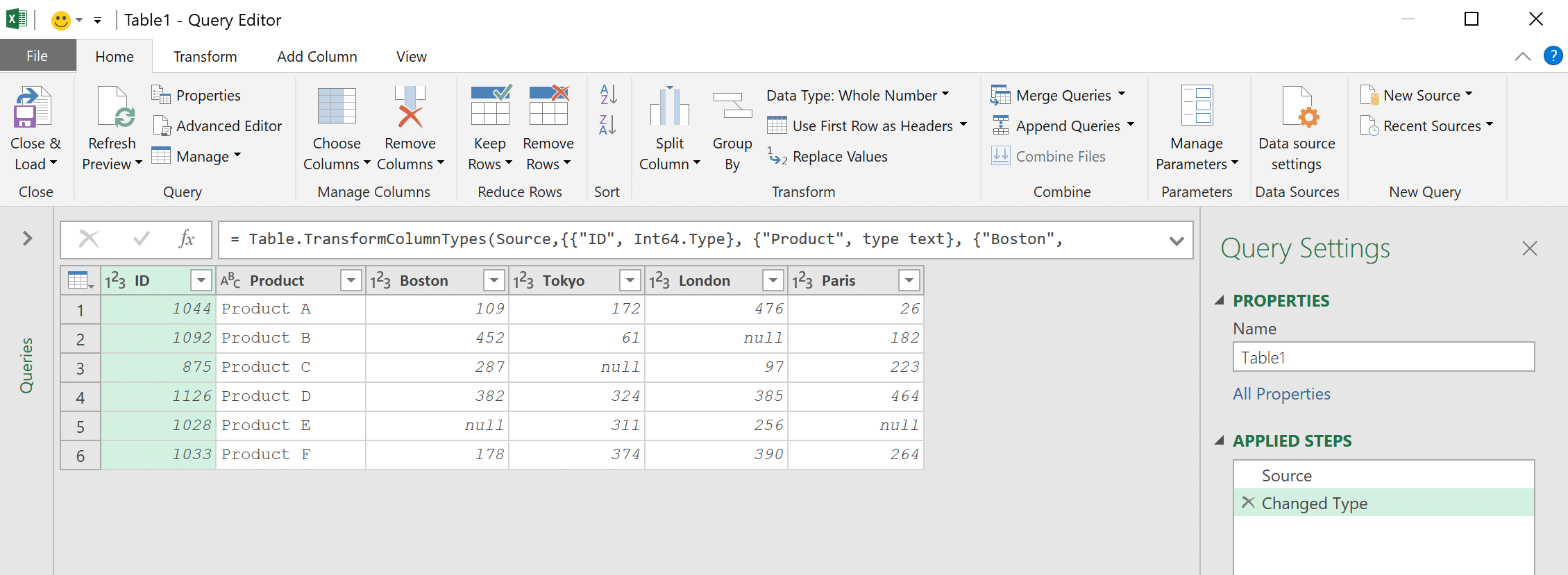 The Query Editor window opens with the table loaded