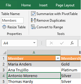 Naming a Table