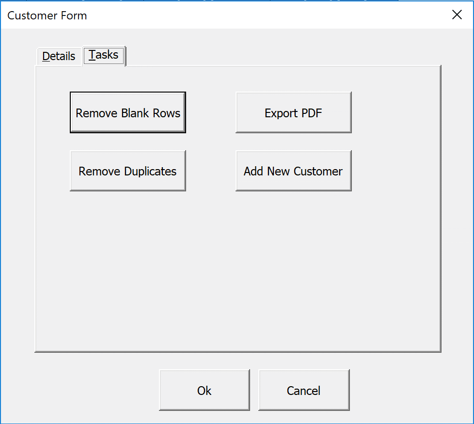 Tasks tab of the MultiPage Control