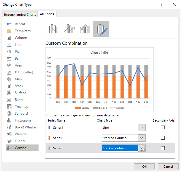Adding a Stacked Column chart