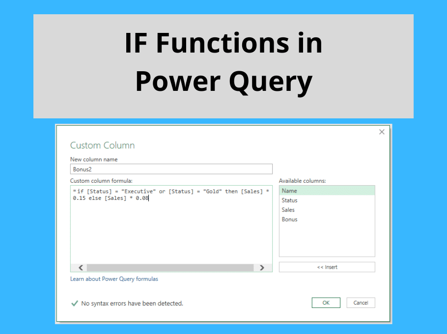 IF Functions in Power Query Including Nested IFS