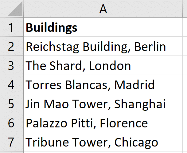 List of buildings for a partial match with find
