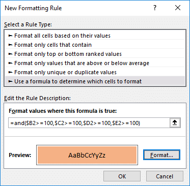 The AND function used in a Conditional Formatting feature.