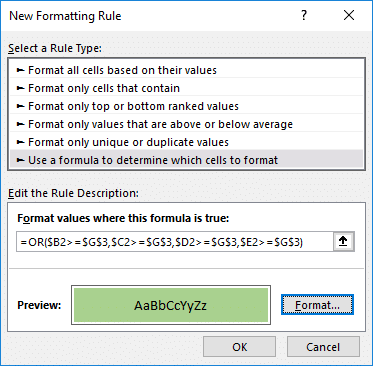 OR function within a Conditional Formatting rule to test if at least one values meets our condition.