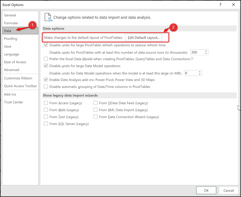 Accessing default layout settings
