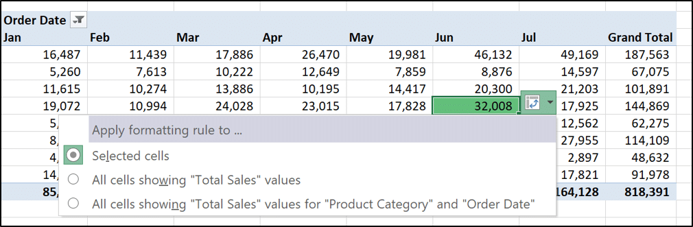 Selecting which values the Conditional Formatting rule is applied to