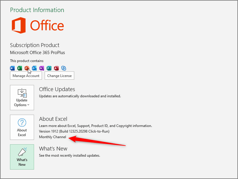Checking your Office 365 ProPlus update channel