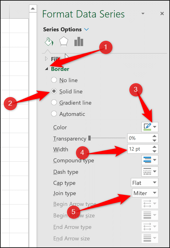 Change the border settings for the bar in bar chart