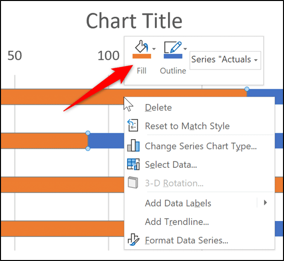 Changing the fill colour of a data series