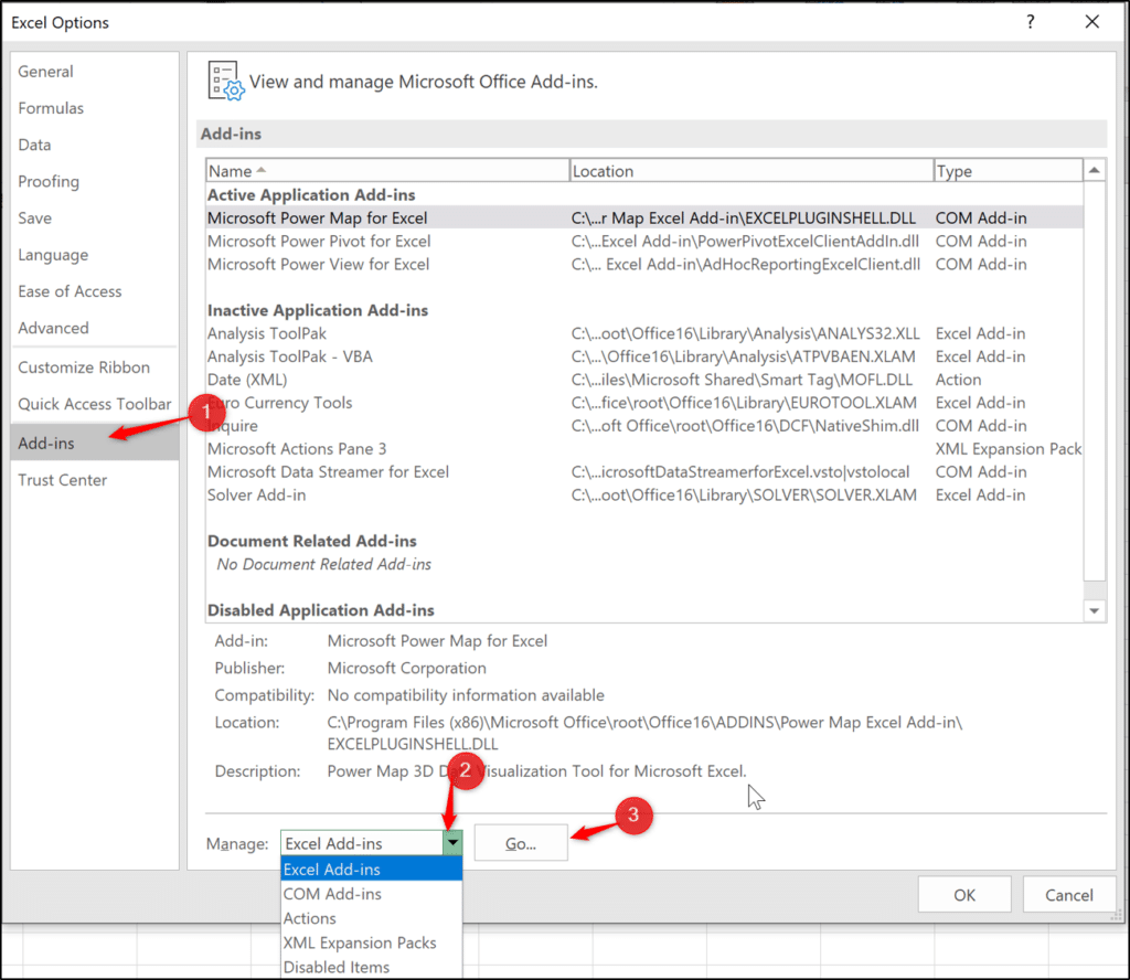 Installing the Power Pivot add-in in Excel