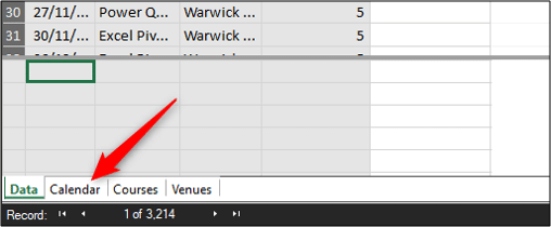 Opening the Calendar table in the Power Pivot data view