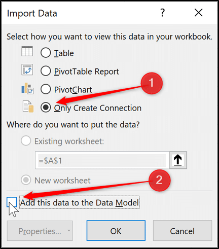 Importing data as connection only to the data model