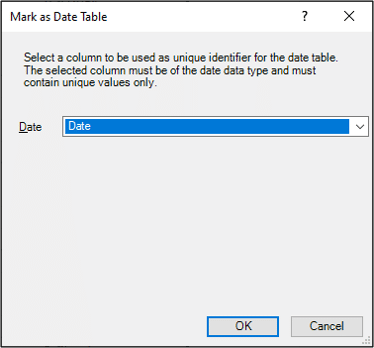 Select the column of dates for the date table