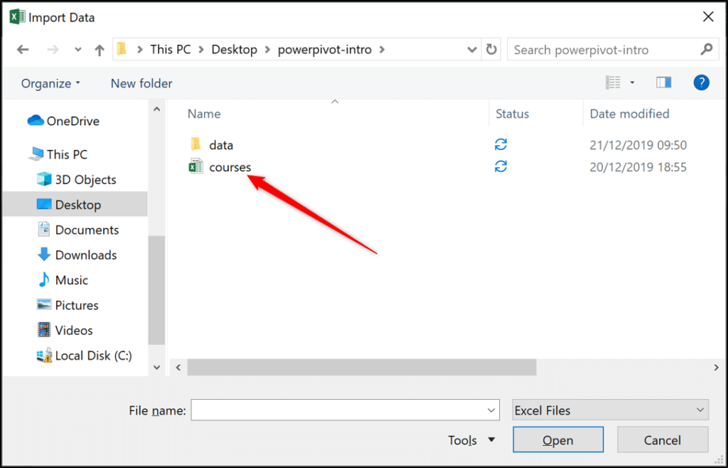 Locating the workbook to import