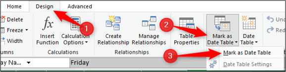 Mark a table as the date table in Excel Power Pivot