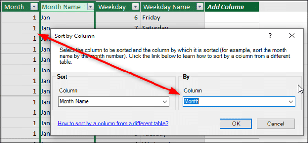 Select the column to sort by