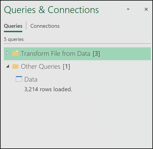 Queries loaded to the Queries & Connections window