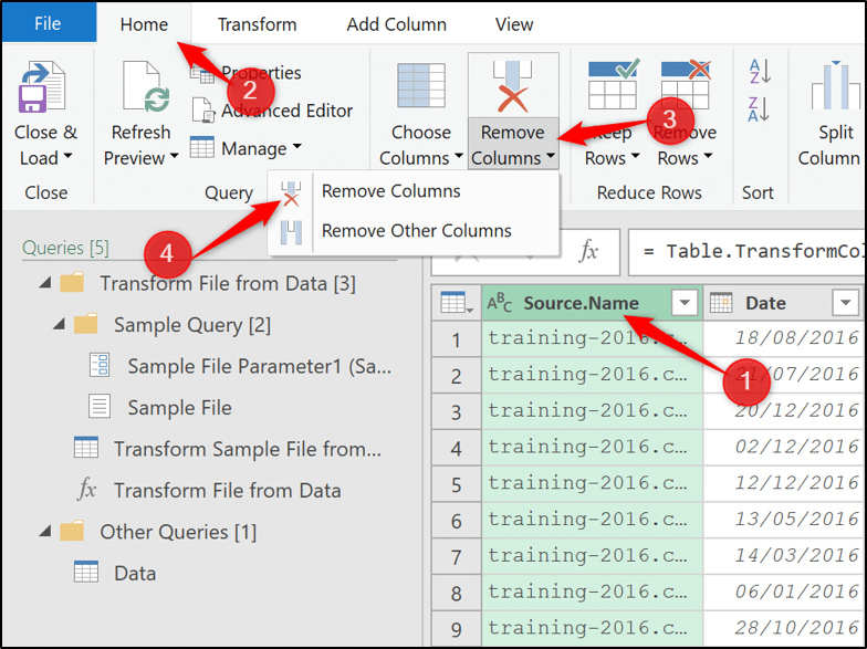 Remove columns in Power Query