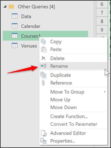 Renaming a query in the editor