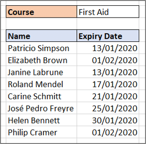 Results of the Excel FILTER function