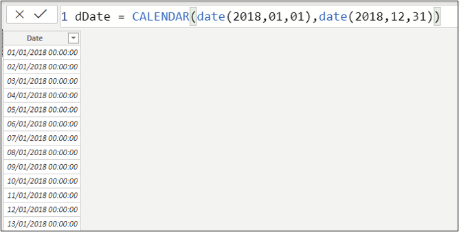 Use the CALENDAR function generate a list of dates