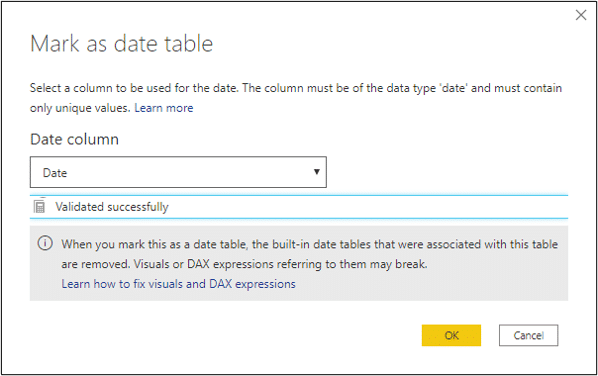 Mark the table as a date table