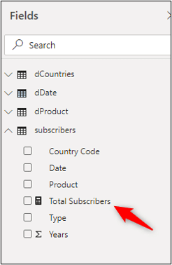 Total Subscribers measure in the table
