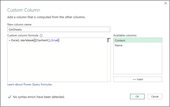 Custom column to extract the sheets from each workbook
