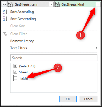 Filter out the tables to only import sheet data