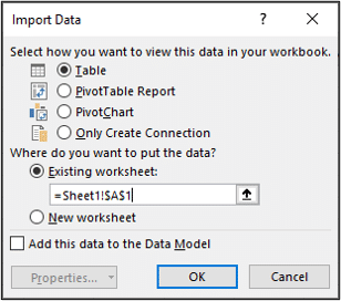 Load data to a table on an existing sheet